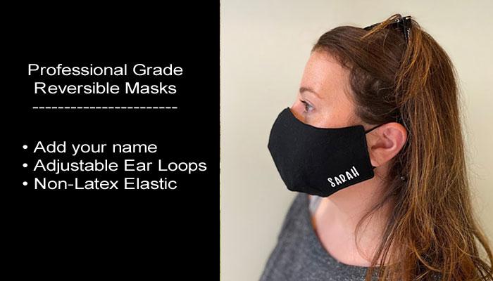 Professional Grade Reversible Black Face Mask