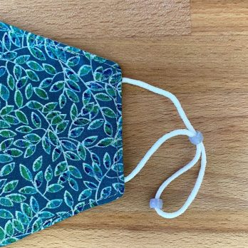 Vines on Teal Fabric Face Mask