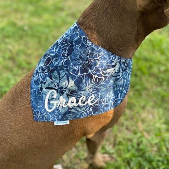Blue and White Batik Pet Bandana