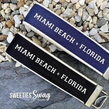 Miami Beach Florida Personalized Wristlet Key Fob