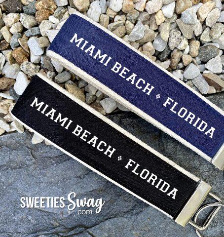 Miami Beach Florida Personalized Wristlet Key Fob