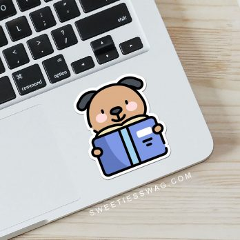 "2-1/2"" Kawaii Dog vinyl laptop, water bottle, and journal stickers"