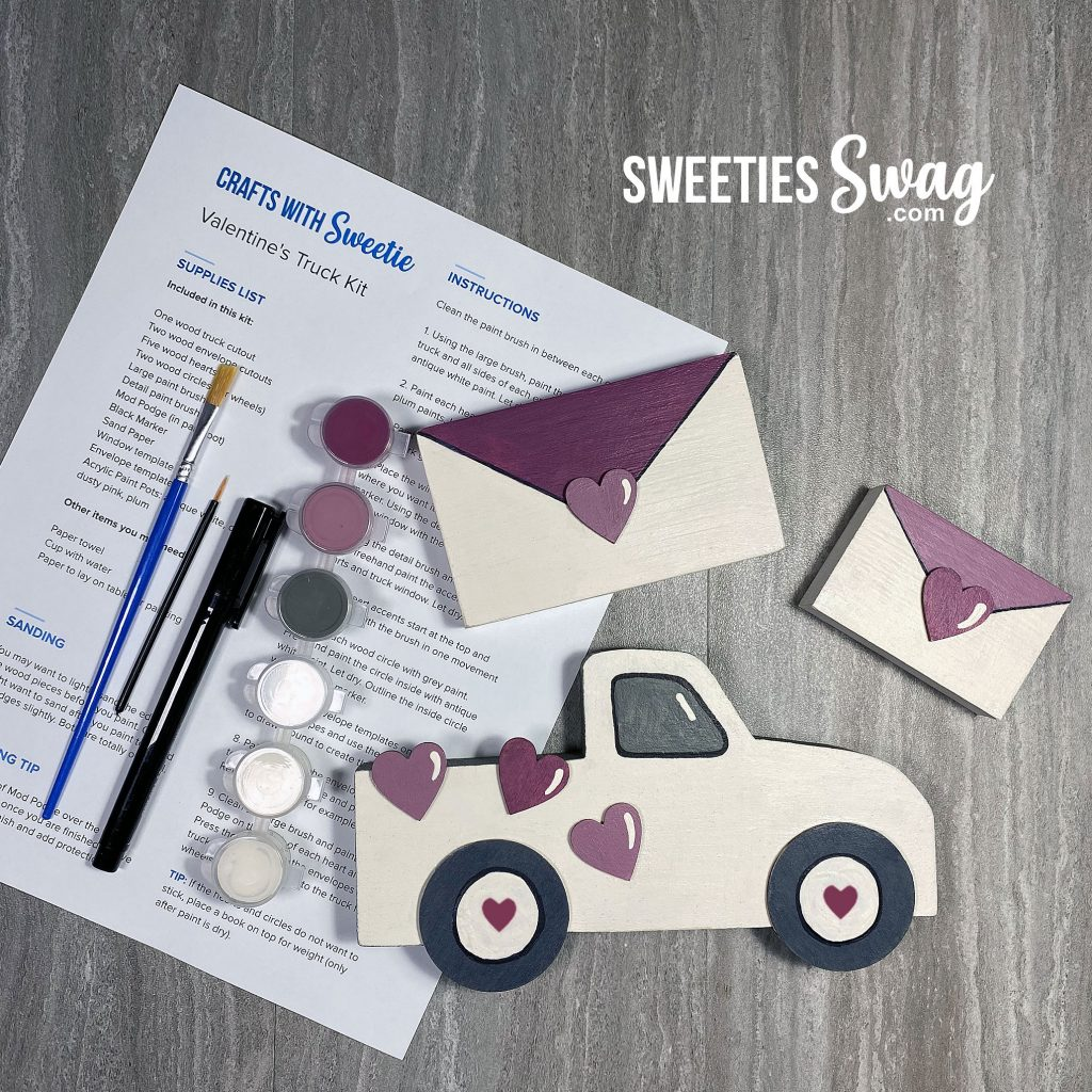 Just in time for Valentine's Day, you will receive a kit to make a wood Valentine's truck and envelopes embellished with hearts.