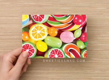 "These 4"" x 6"" postcards are the perfect size for sending in the mail. They are made from premium cardstock and feature colorful candy treats."