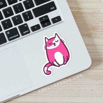 Pink Cat Vinyl Die-Cut Sticker