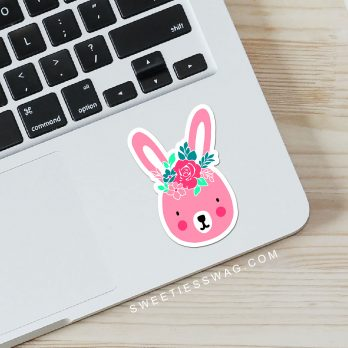 Flower Girl Bunny Vinyl Die-Cut Sticker